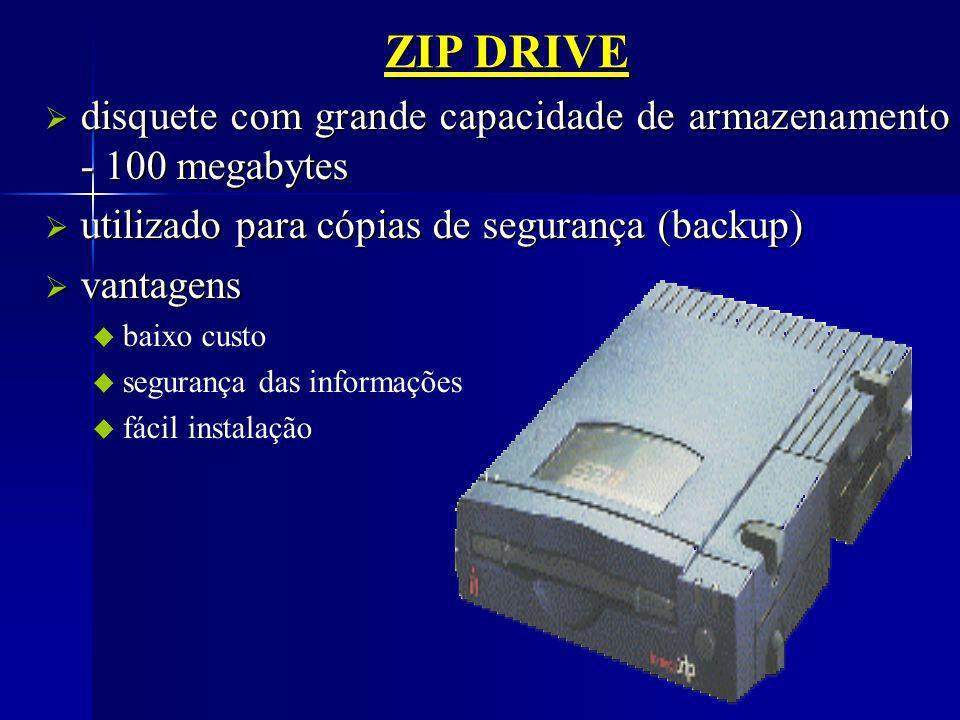 ZIP DRIVE disquete com grande capacidade de armazenamento - 100 megabytes. utilizado para cópias de segurança (backup)