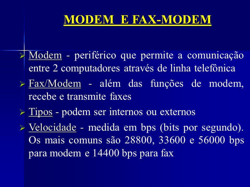 MODEM E FAX-MODEM Modem - periférico que permite a comunicação entre 2 computadores através de linha telefônica.