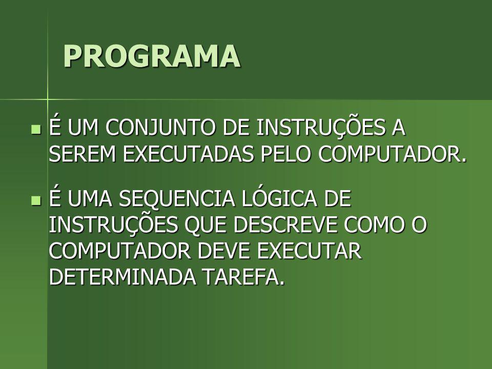 PROGRAMA É UM CONJUNTO DE INSTRUÇÕES A SEREM EXECUTADAS PELO COMPUTADOR.
