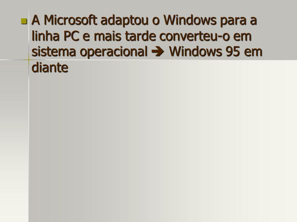 A Microsoft adaptou o Windows para a linha PC e mais tarde converteu-o em sistema operacional  Windows 95 em diante