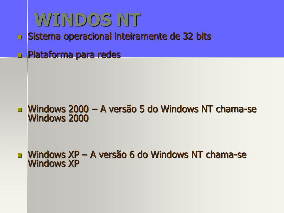 WINDOS NT Sistema operacional inteiramente de 32 bits