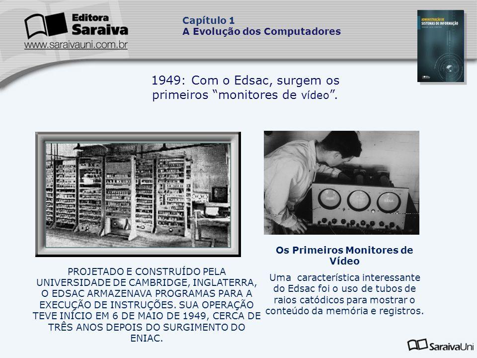 1949: Com o Edsac, surgem os primeiros monitores de vídeo .