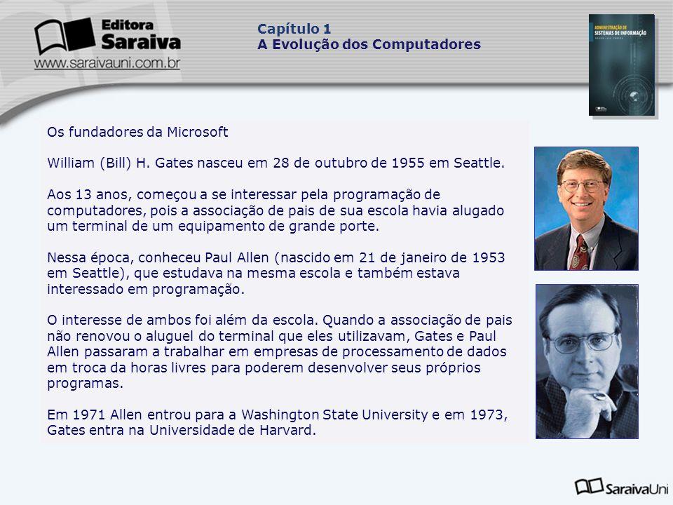 Capítulo 1 A Evolução dos Computadores. Os fundadores da Microsoft. William (Bill) H. Gates nasceu em 28 de outubro de 1955 em Seattle.