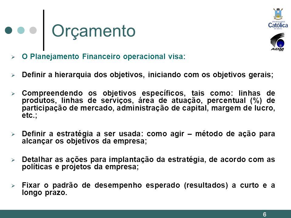 Orçamento O Planejamento Financeiro operacional visa: