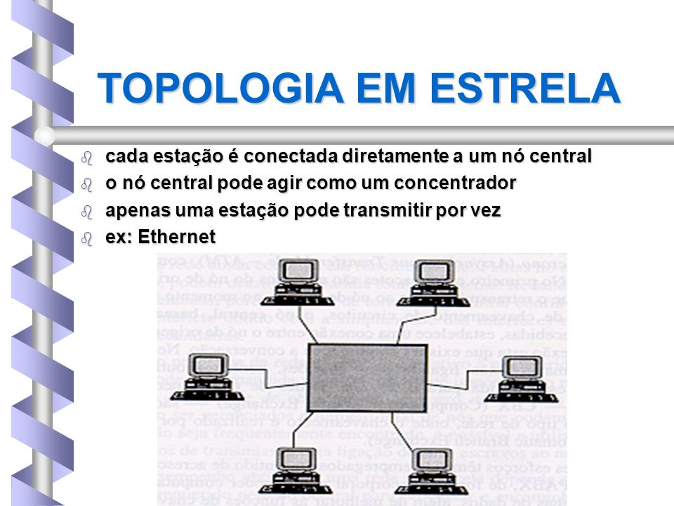 TOPOLOGIA EM ESTRELA cada estação é conectada diretamente a um nó central. o nó central pode agir como um concentrador.