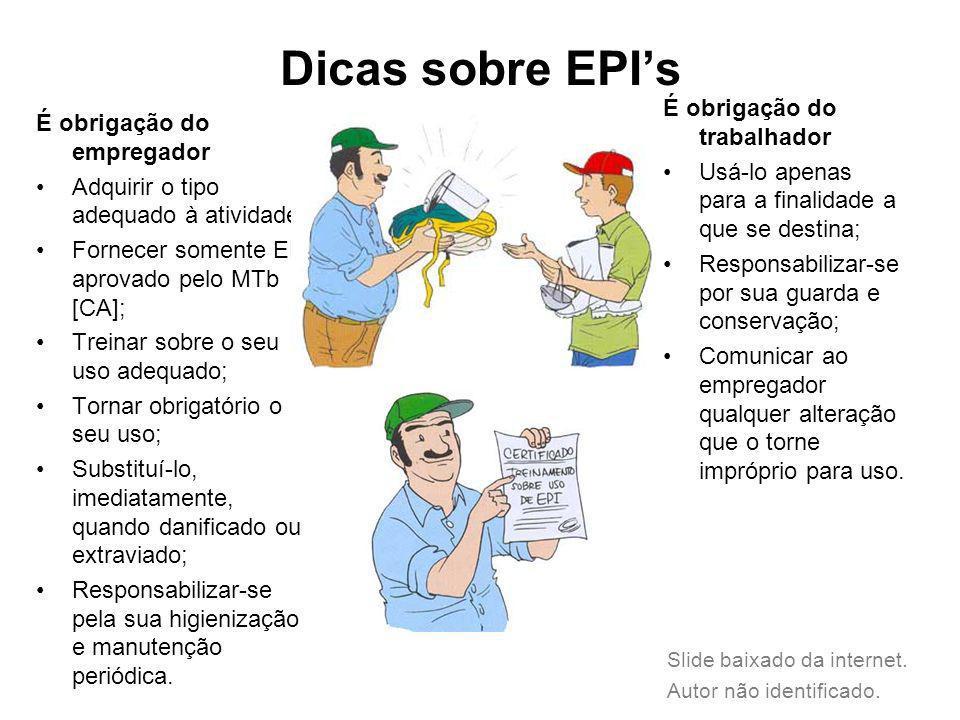 Dicas sobre EPI's É obrigação do trabalhador É obrigação do empregador