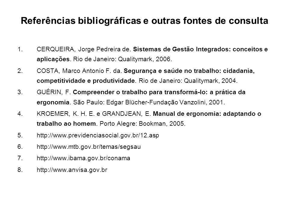 Referências bibliográficas e outras fontes de consulta