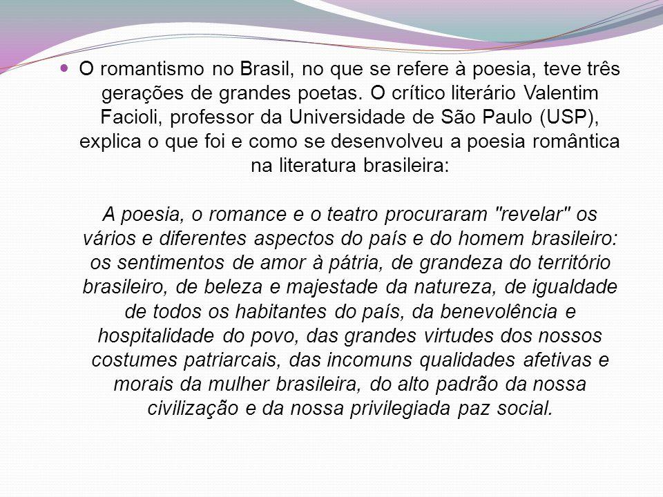 O romantismo no Brasil, no que se refere à poesia, teve três gerações de grandes poetas.