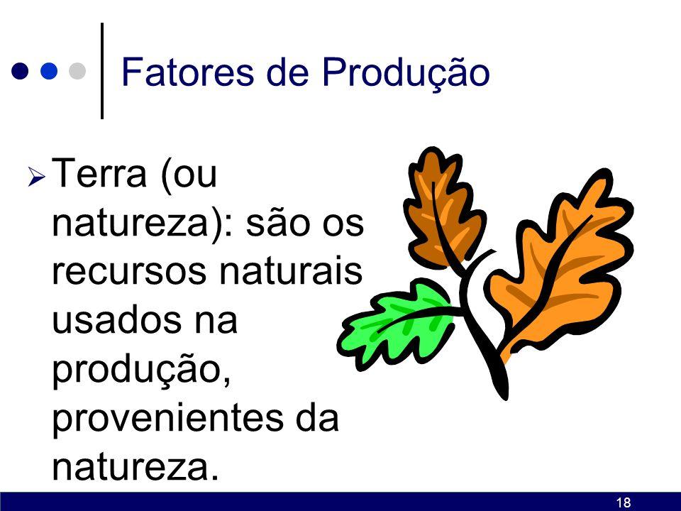 Fatores de Produção Terra (ou natureza): são os recursos naturais usados na produção, provenientes da natureza.