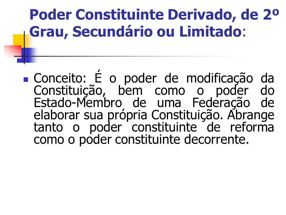 Poder Constituinte Derivado, de 2º Grau, Secundário ou Limitado: