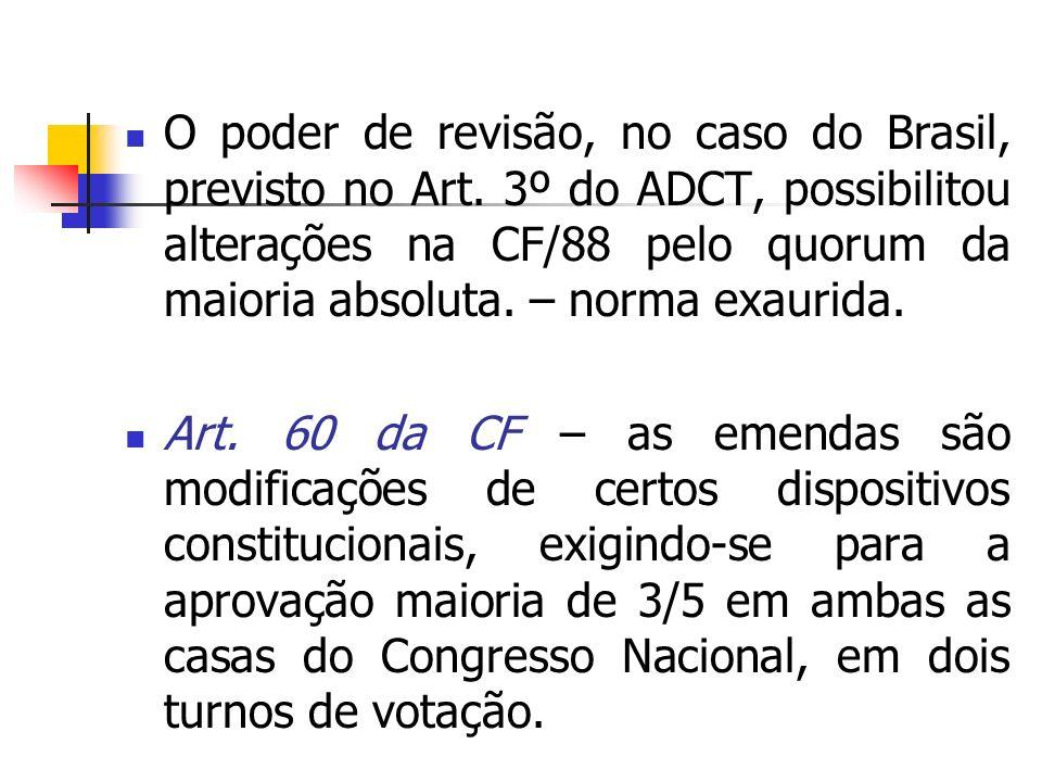 O poder de revisão, no caso do Brasil, previsto no Art
