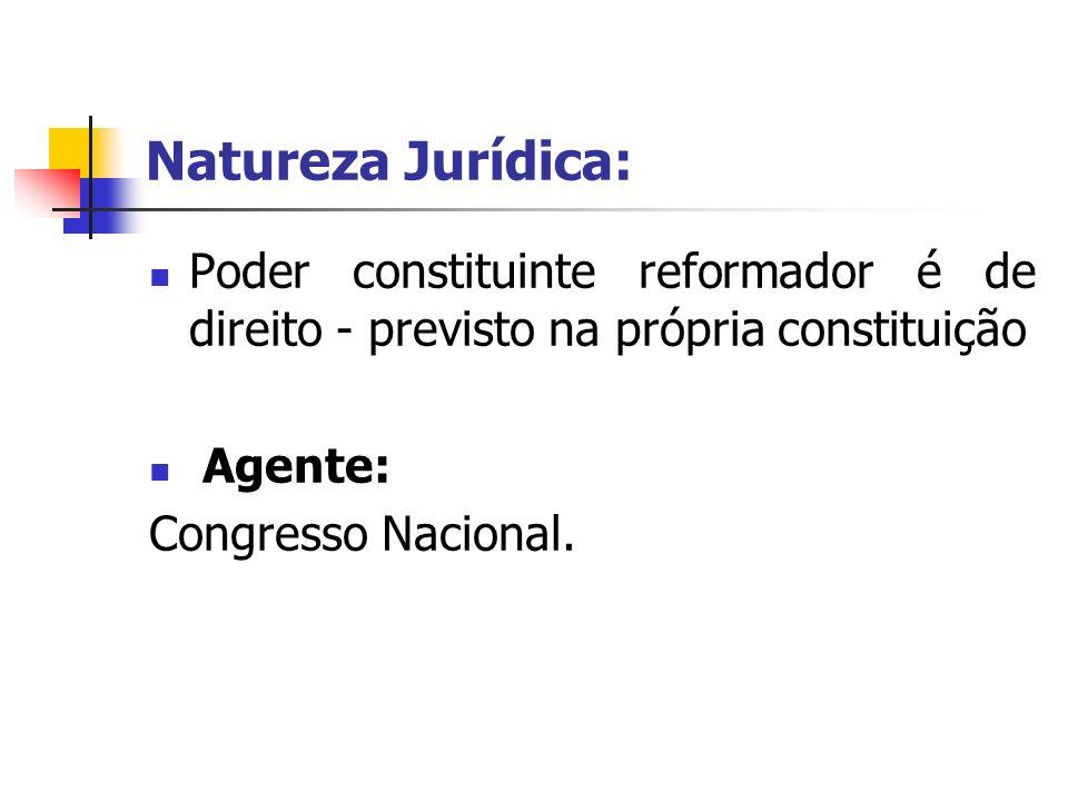 Natureza Jurídica: Poder constituinte reformador é de direito - previsto na própria constituição. Agente: