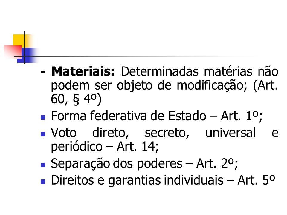 - Materiais: Determinadas matérias não podem ser objeto de modificação; (Art. 60, § 4º)