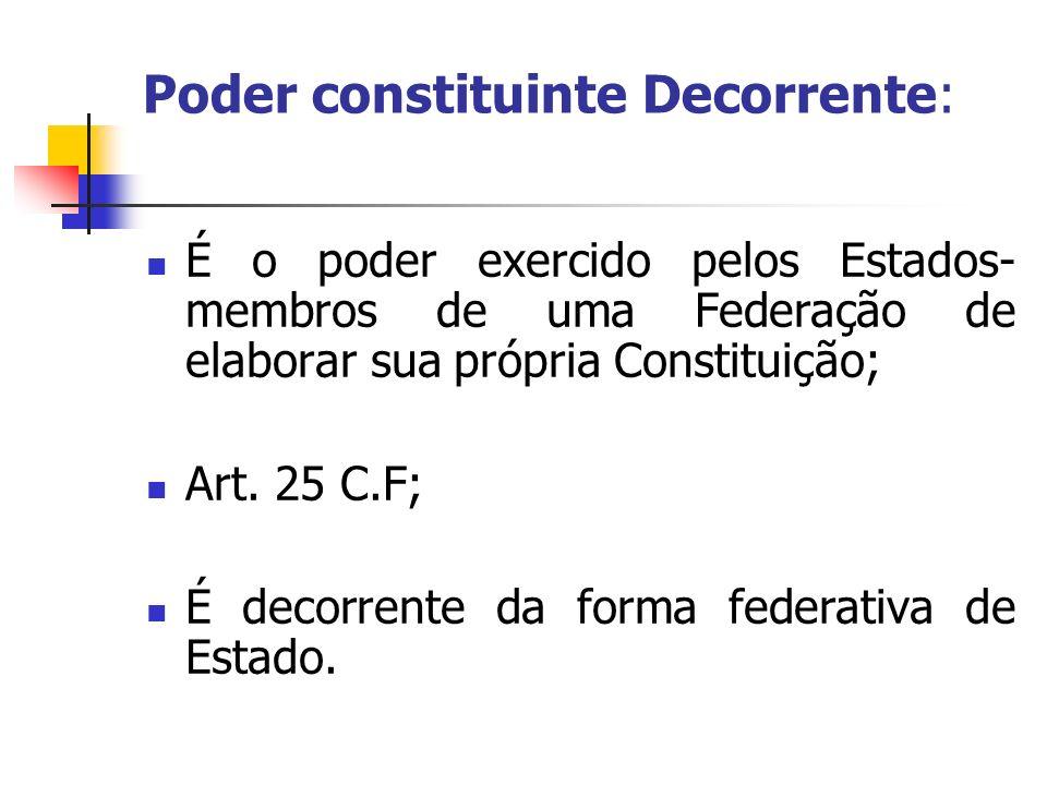 Poder constituinte Decorrente: