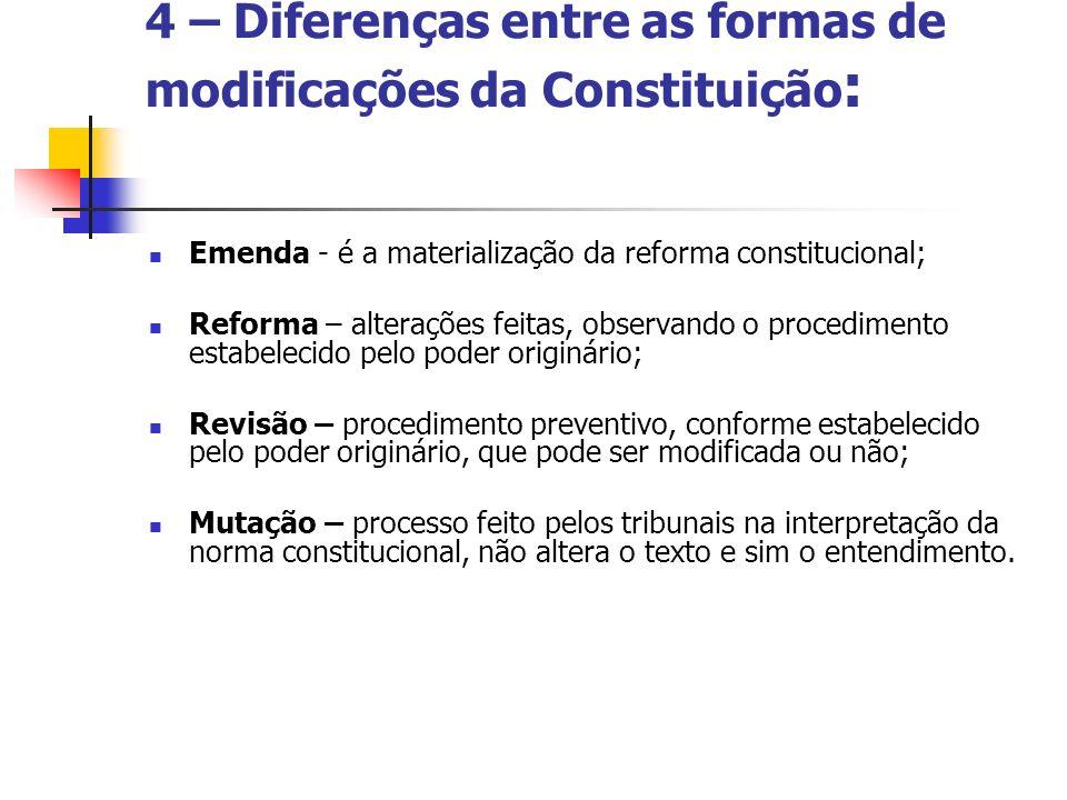 4 – Diferenças entre as formas de modificações da Constituição: