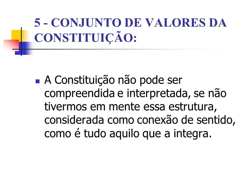 5 - CONJUNTO DE VALORES DA CONSTITUIÇÃO: