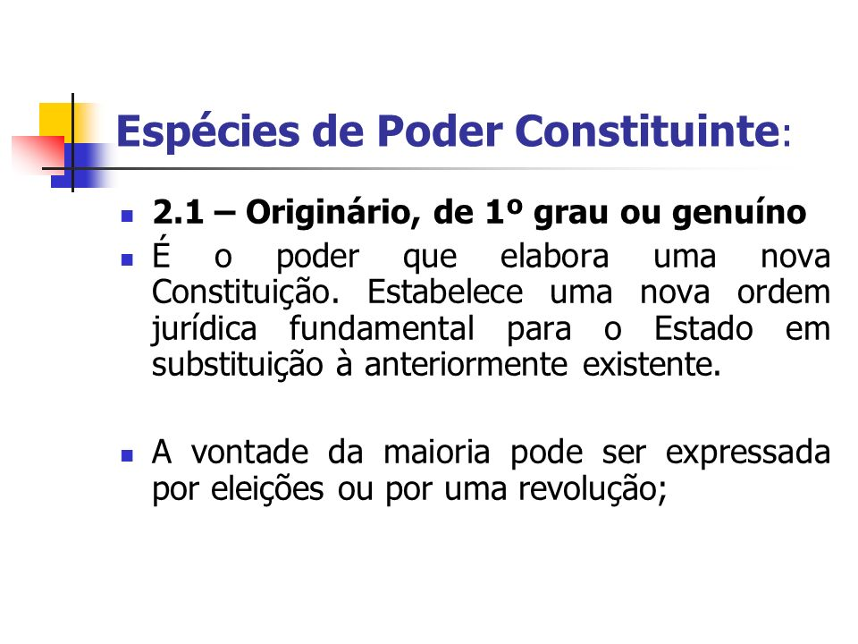Espécies de Poder Constituinte: