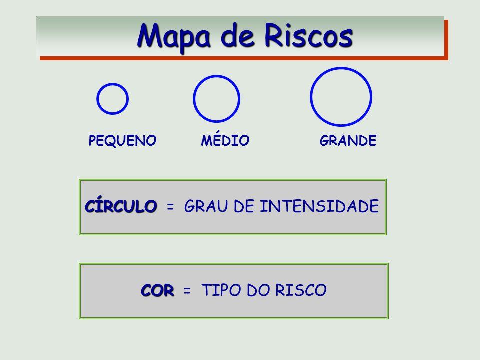 Mapa de Riscos CÍRCULO = GRAU DE INTENSIDADE COR = TIPO DO RISCO