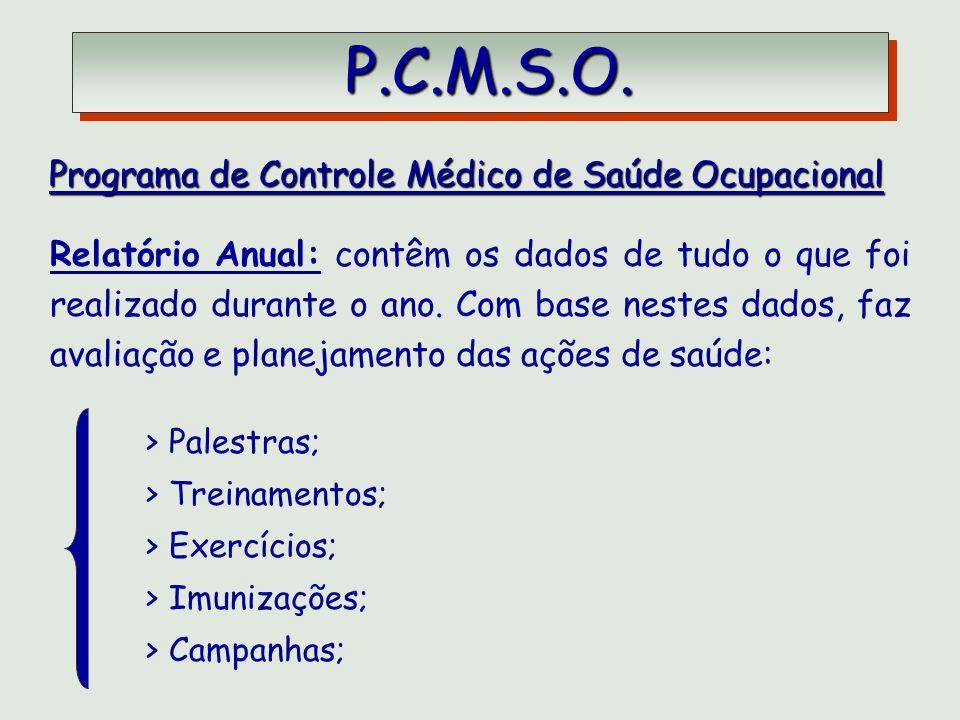 P.C.M.S.O. Programa de Controle Médico de Saúde Ocupacional