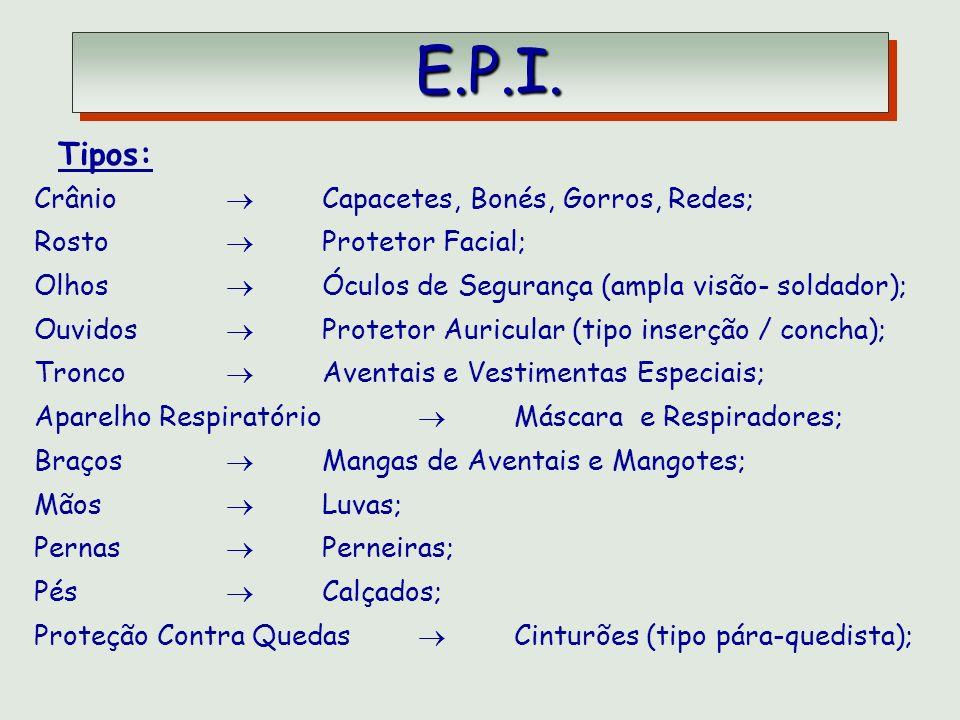 E.P.I. Tipos: Crânio  Capacetes, Bonés, Gorros, Redes;