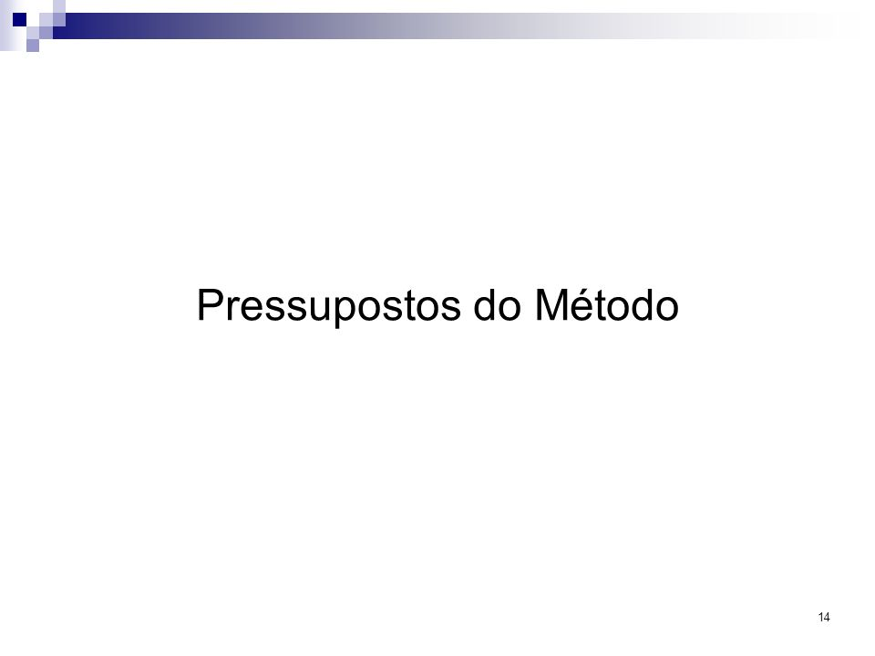 Pressupostos do Método