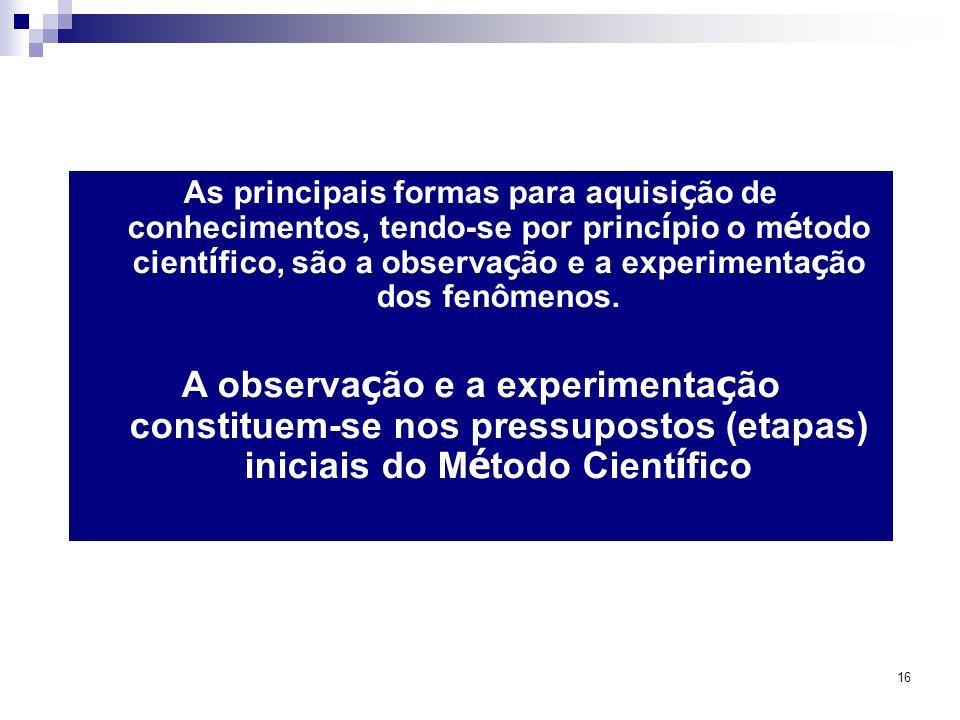 As principais formas para aquisição de conhecimentos, tendo-se por princípio o método científico, são a observação e a experimentação dos fenômenos.