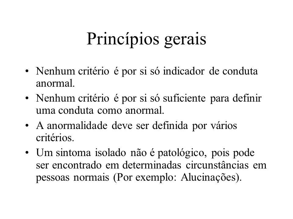 Princípios gerais Nenhum critério é por si só indicador de conduta anormal.