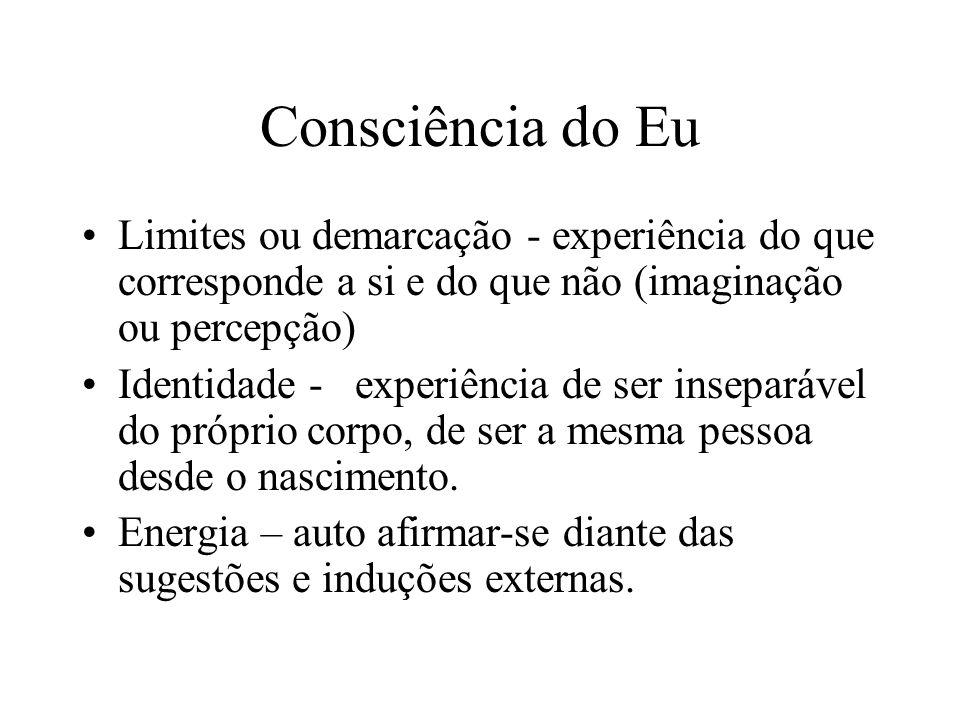 Consciência do Eu Limites ou demarcação - experiência do que corresponde a si e do que não (imaginação ou percepção)