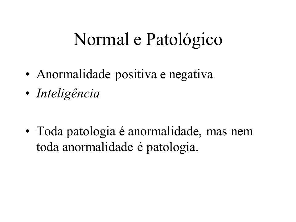 Normal e Patológico Anormalidade positiva e negativa Inteligência