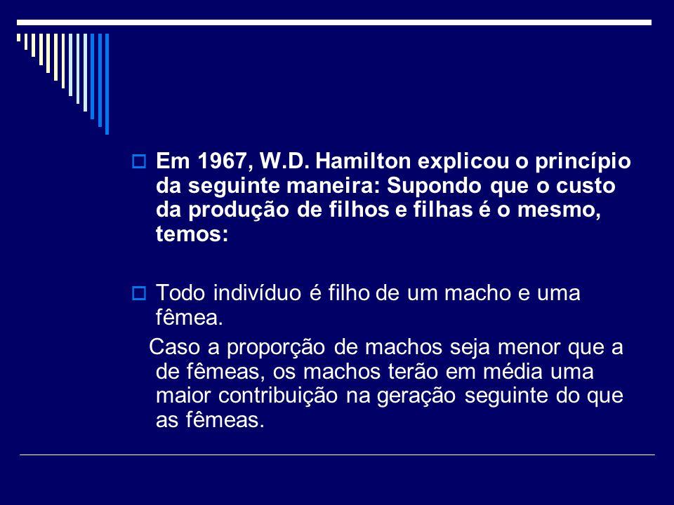 Em 1967, W.D. Hamilton explicou o princípio da seguinte maneira: Supondo que o custo da produção de filhos e filhas é o mesmo, temos:
