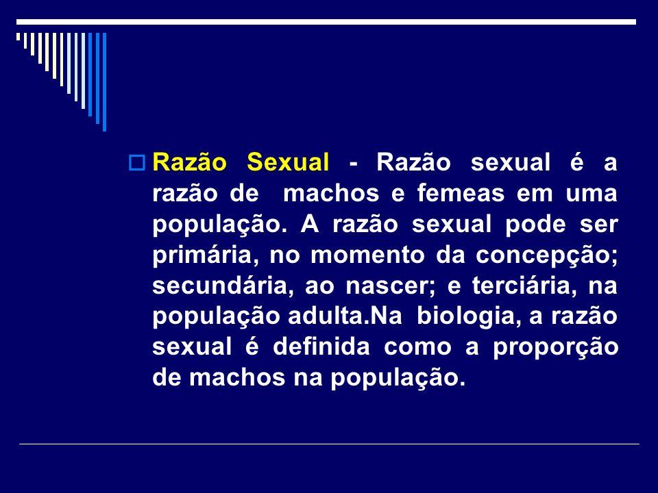Razão Sexual - Razão sexual é a razão de machos e femeas em uma população.