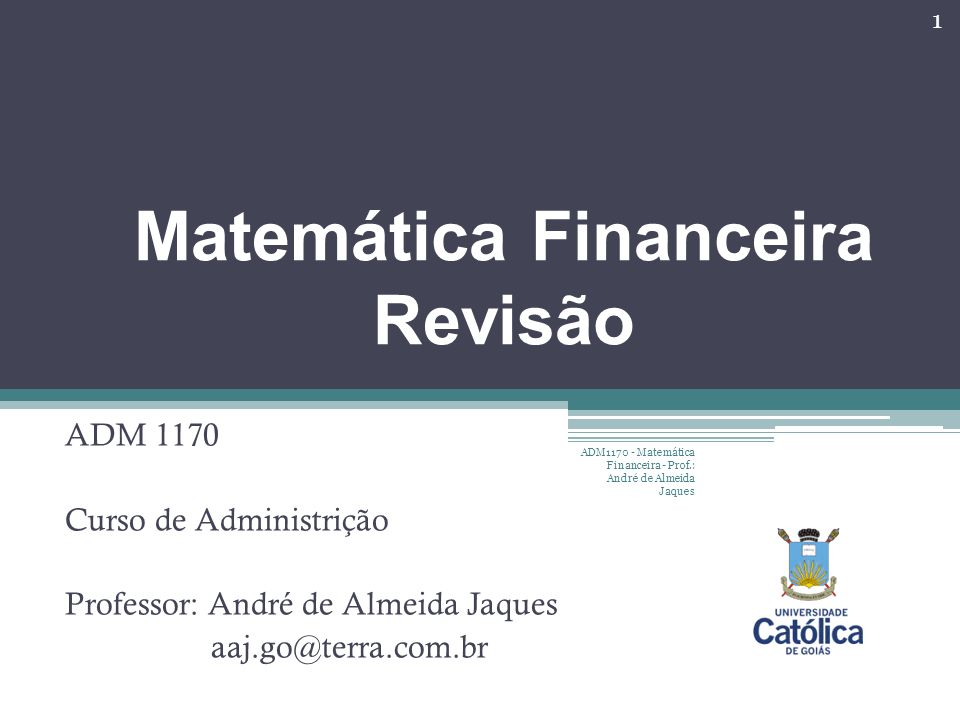Matemática Financeira Revisão