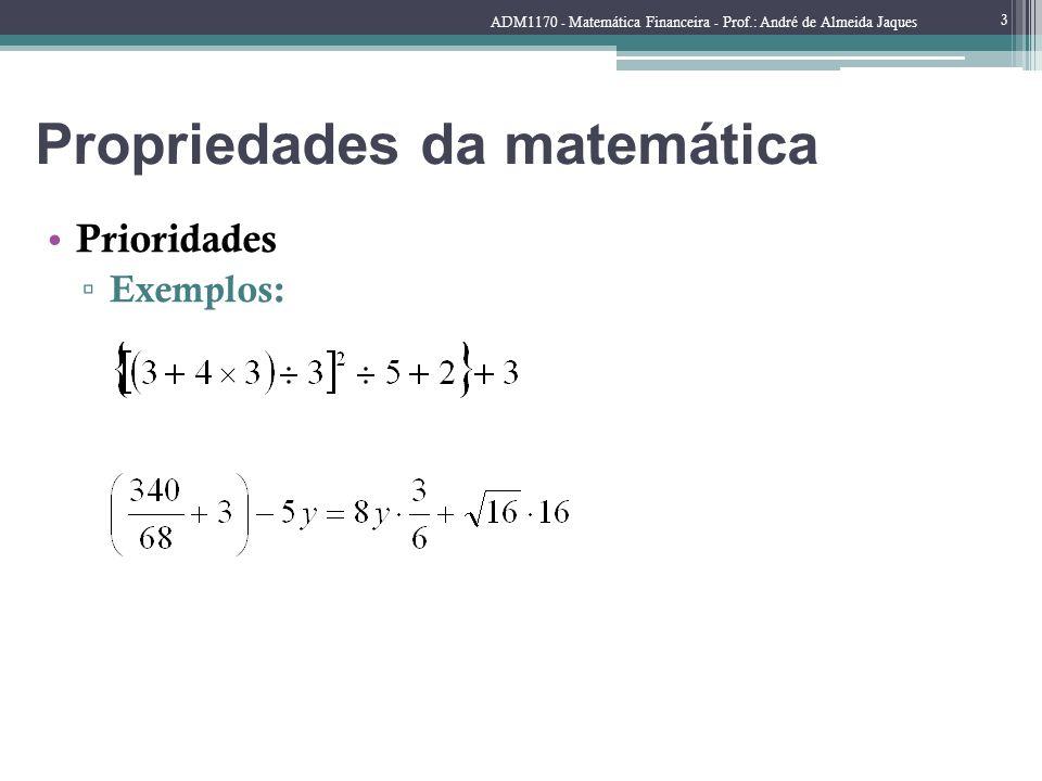 Propriedades da matemática