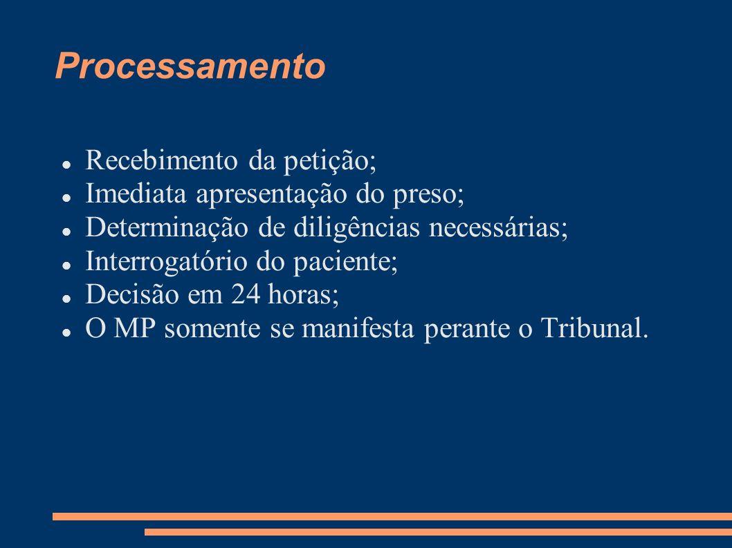 Processamento Recebimento da petição; Imediata apresentação do preso;