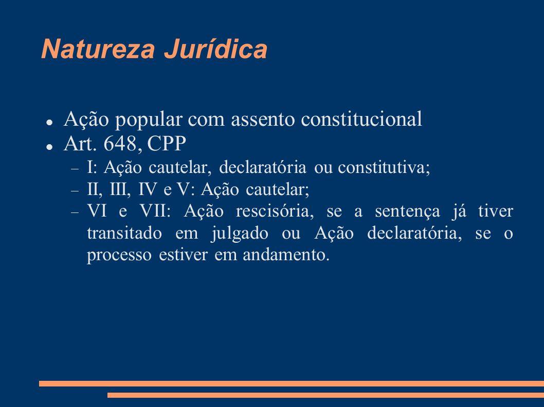 Natureza Jurídica Ação popular com assento constitucional
