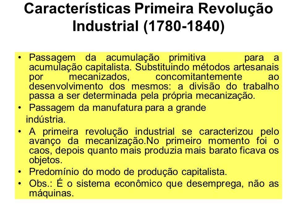 Características Primeira Revolução Industrial (1780-1840)