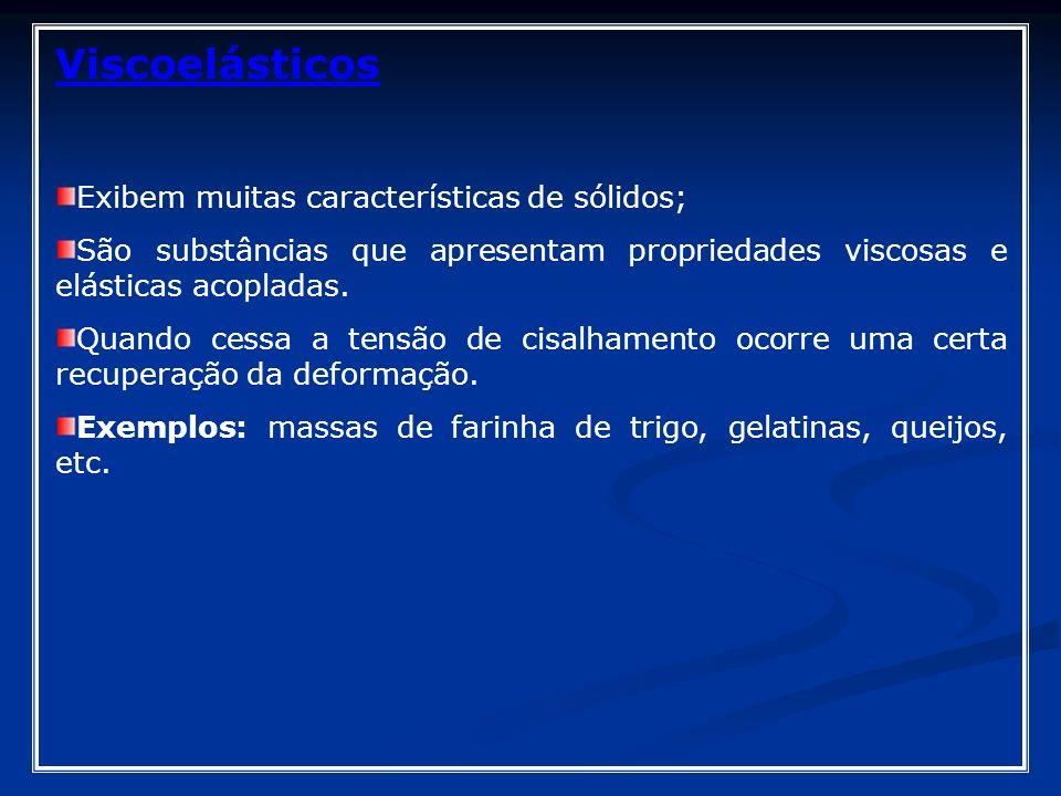 Viscoelásticos Exibem muitas características de sólidos;