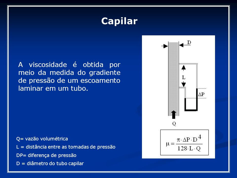 Capilar A viscosidade é obtida por meio da medida do gradiente de pressão de um escoamento laminar em um tubo.