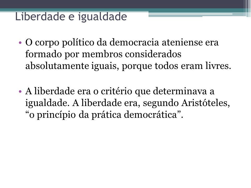 Liberdade e igualdade O corpo político da democracia ateniense era formado por membros considerados absolutamente iguais, porque todos eram livres.