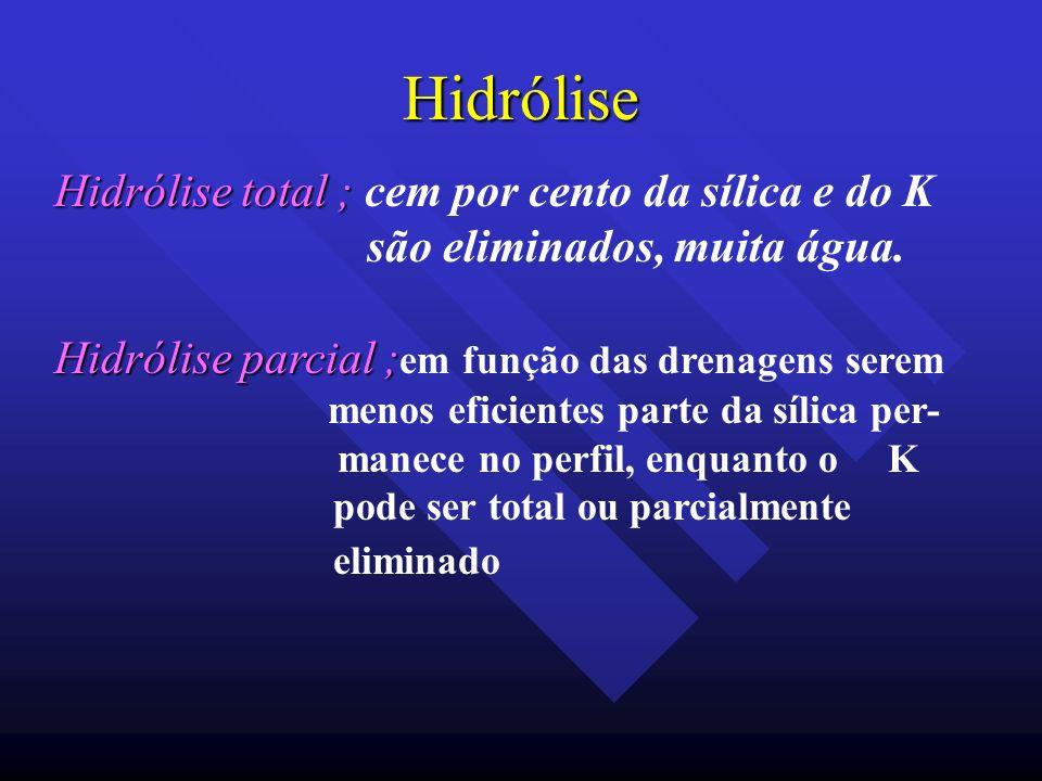 Hidrólise Hidrólise total ; cem por cento da sílica e do K