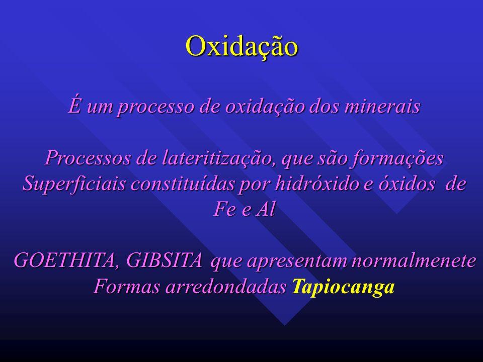Oxidação É um processo de oxidação dos minerais