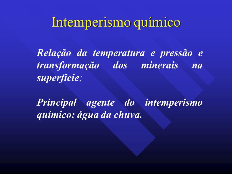 Intemperismo químico Relação da temperatura e pressão e transformação dos minerais na superfície;