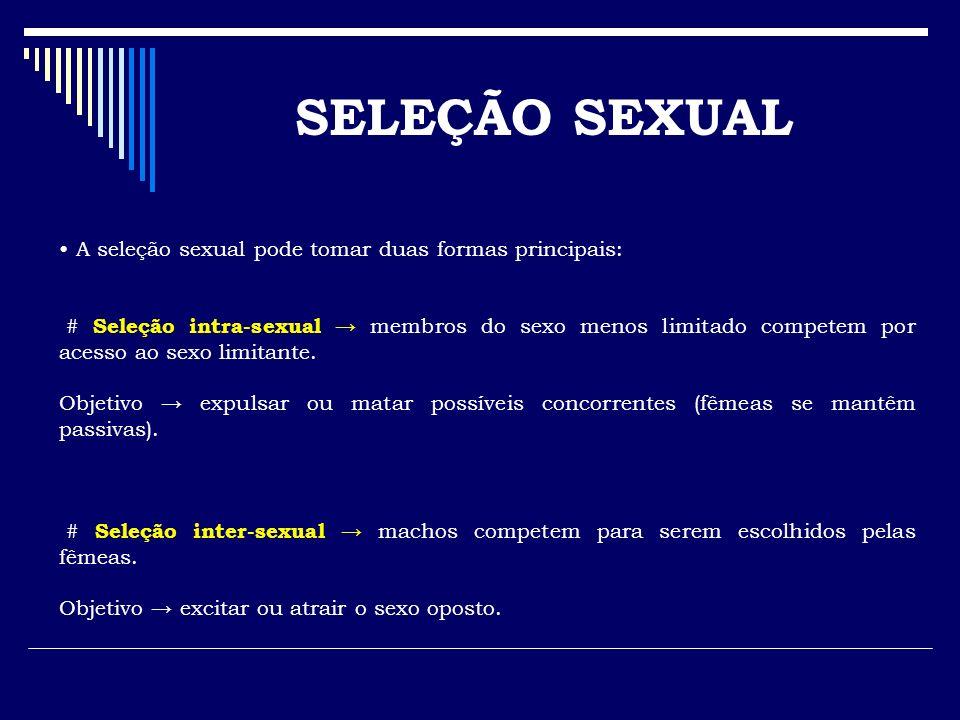 SELEÇÃO SEXUAL A seleção sexual pode tomar duas formas principais: