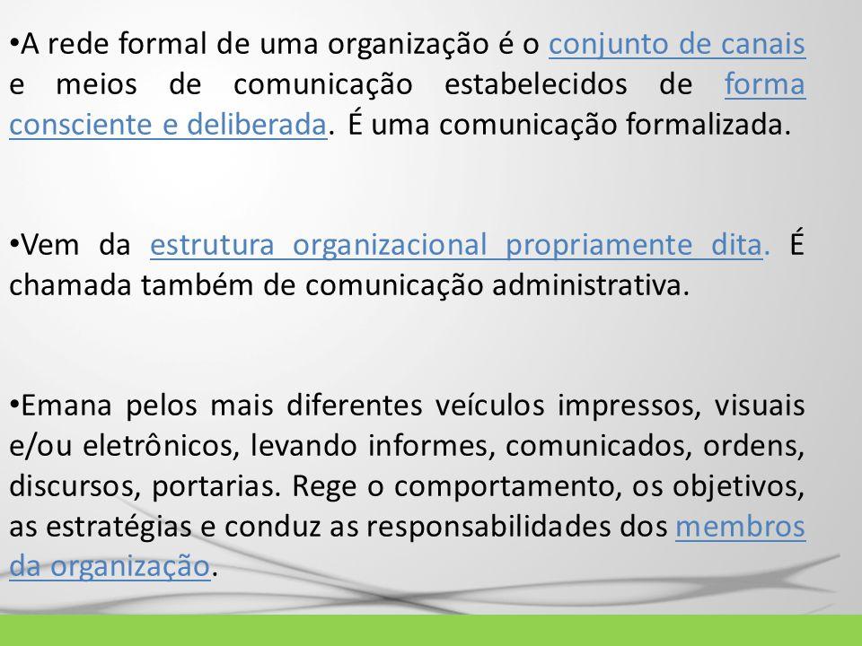 A rede formal de uma organização é o conjunto de canais e meios de comunicação estabelecidos de forma consciente e deliberada. É uma comunicação formalizada.
