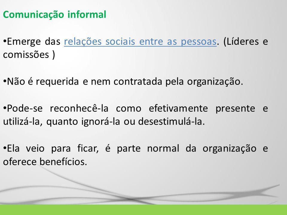 Comunicação informal Emerge das relações sociais entre as pessoas. (Líderes e comissões ) Não é requerida e nem contratada pela organização.