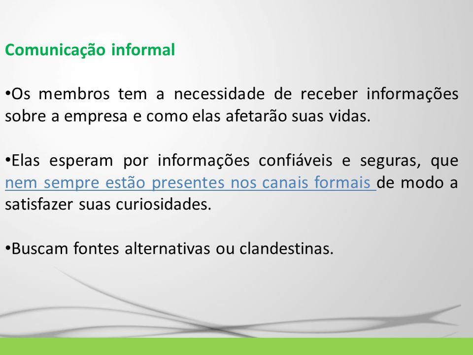 Comunicação informalOs membros tem a necessidade de receber informações sobre a empresa e como elas afetarão suas vidas.