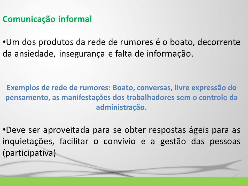 Comunicação informal Um dos produtos da rede de rumores é o boato, decorrente da ansiedade, insegurança e falta de informação.