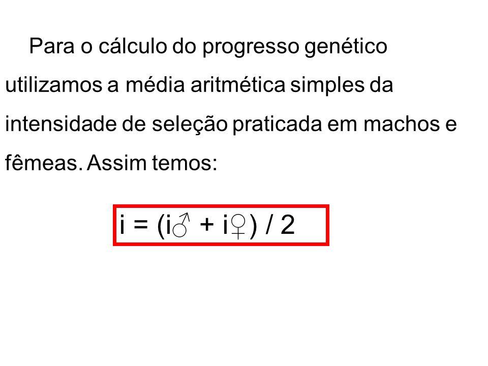 Para o cálculo do progresso genético utilizamos a média aritmética simples da intensidade de seleção praticada em machos e fêmeas. Assim temos: