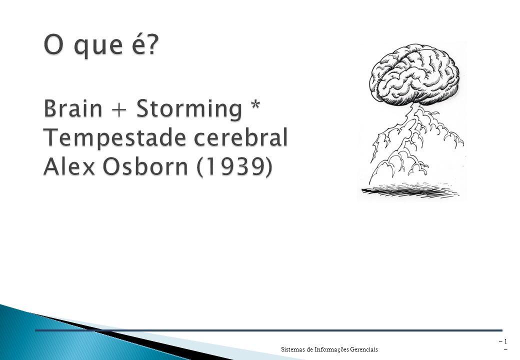 O que é Brain + Storming * Tempestade cerebral Alex Osborn (1939)