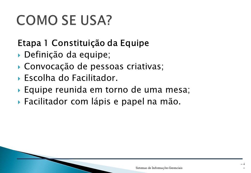 COMO SE USA Etapa 1 Constituição da Equipe Definição da equipe;